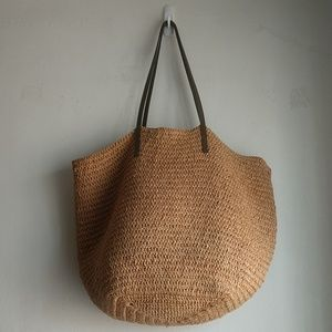J Crew Farmers Market Purse Tote Bag Straw Leather